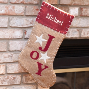 Embroidered Joy Christmas Stocking | Embroidered Christmas Stockings