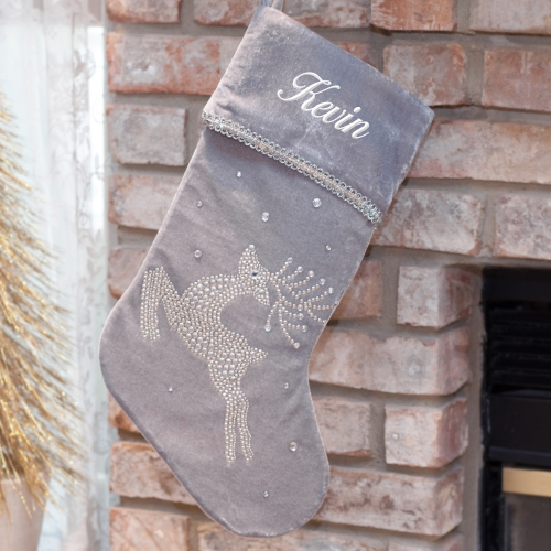 Embroidered Jeweled Reindeer Stocking S96589