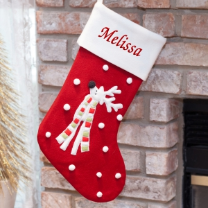 Personalized Wool Reindeer Embroidered Stocking