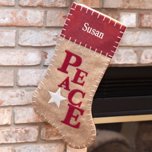 Embroidered Peace Burlap Stocking S96619