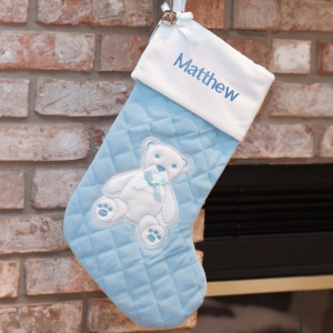 Embroidered First Christmas Blue Stocking | Baby Christmas Stocking
