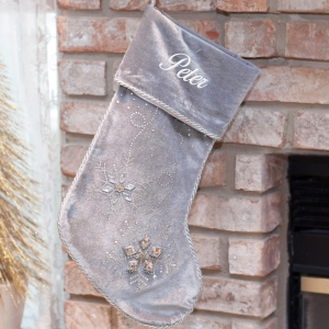 Personalized Jeweled Gray Christmas Stocking