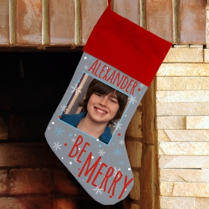 Be Merry Personalized Photo Stocking | Personalized Christmas Stockings