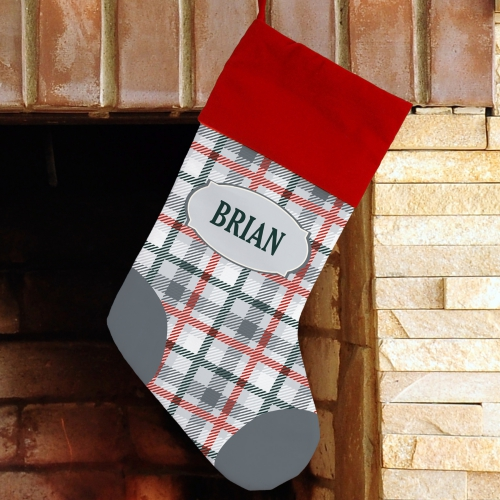 Classic Plaid Personalized Christmas Stocking | Unique Christmas Stockings