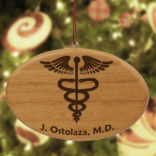 Engraved Medical Wooden Oval Ornament | Personalized Doctor Ornament