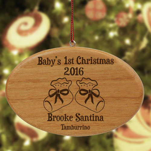 Engraved Baby's 1st Christmas Wooden Oval Ornament | Baby's First Christmas Ornaments