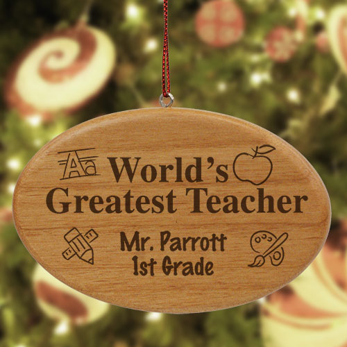 Engraved Teacher Wooden Oval Christmas Ornament | Personalized Teacher Ornaments