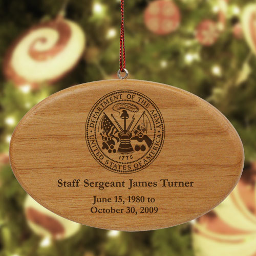Engraved U.S. Army Memorial Wooden Oval Ornament | Memorial Ornament
