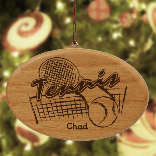 Engraved Tennis Wooden Oval Ornament W37642
