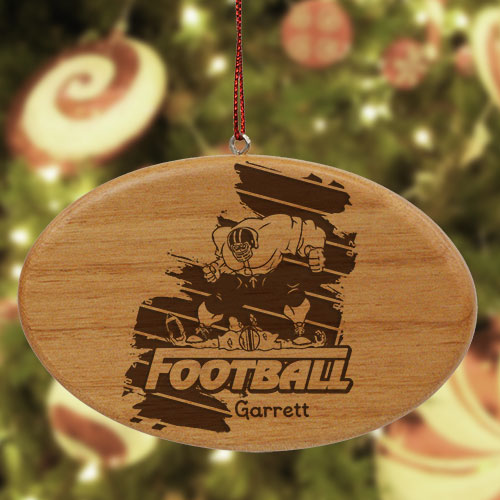 Engraved Football Player Wooden Oval Ornament W37652