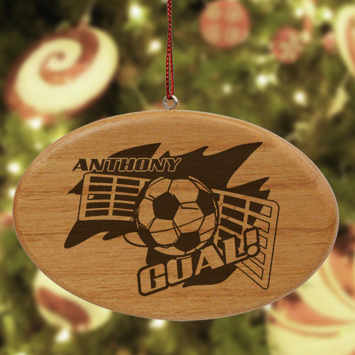 Engraved Soccer Player Wooden Oval Ornament | Personalized Soccer Ornaments