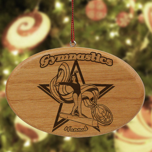 Engraved Gymnastics Wooden Oval Ornament W37682