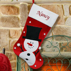 Embroidered Snowman Christmas Stocking | Personalized Christmas Stockings