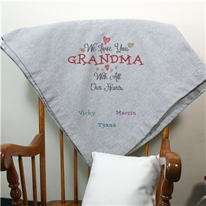Personalized With All Our Heart Blanket | Personalized Gifts For Grandma