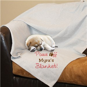 Personalized Paws Off Fleece Blanket | Personalized Blankets