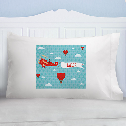 Personalized Up In the Air Kids Pillowcase | Personalized Valentine's Gifts For Kids