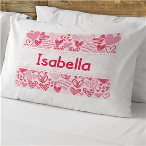 Personalized Pink Hearts Kids Pillowcase | Valentines Day Gifts For Kids