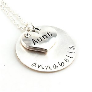 Aunt Hand Stamped Necklace | Personalized Aunt Gifts