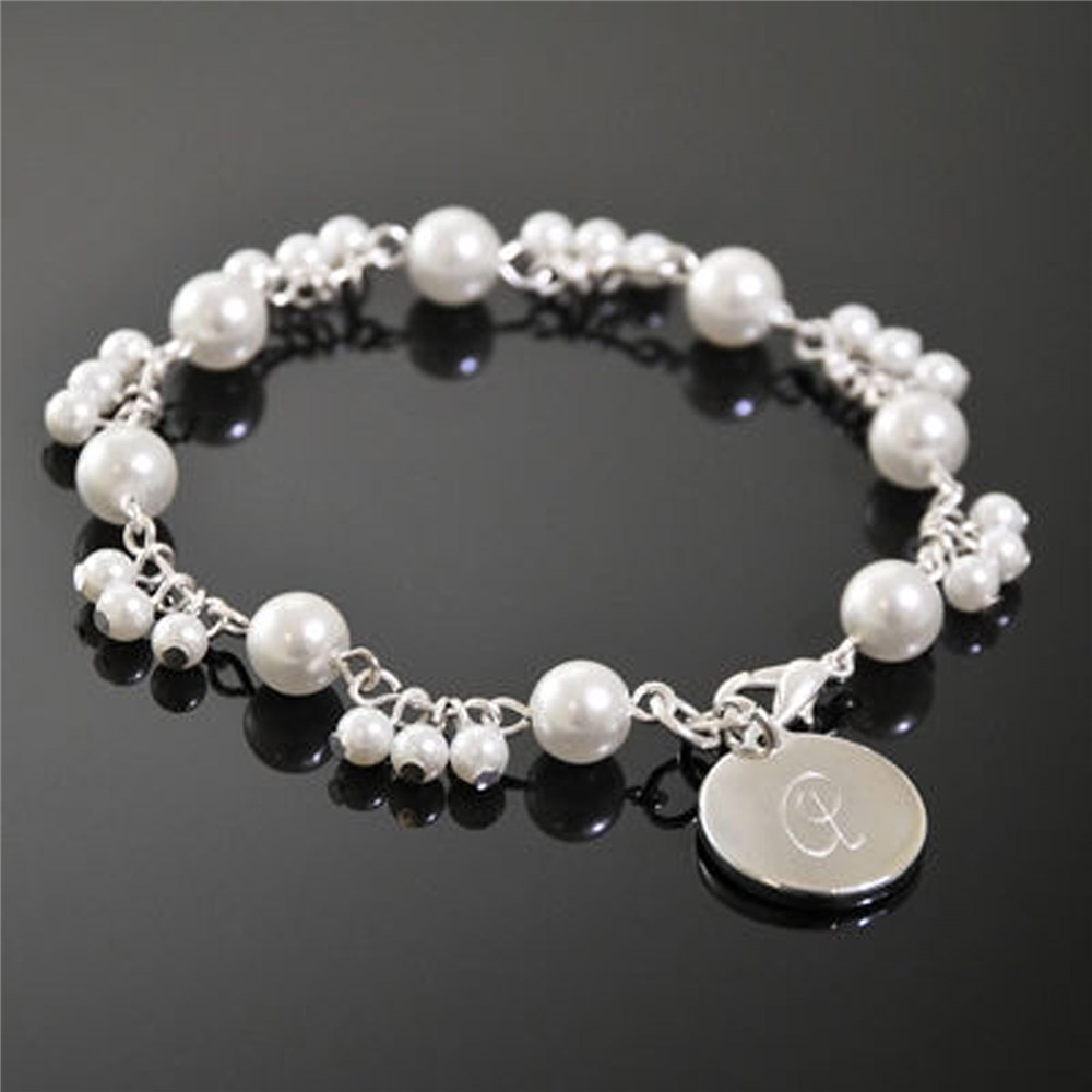 Engraved Romance Ivory Pearl Bracelet | Personalized Bracelets For Mom