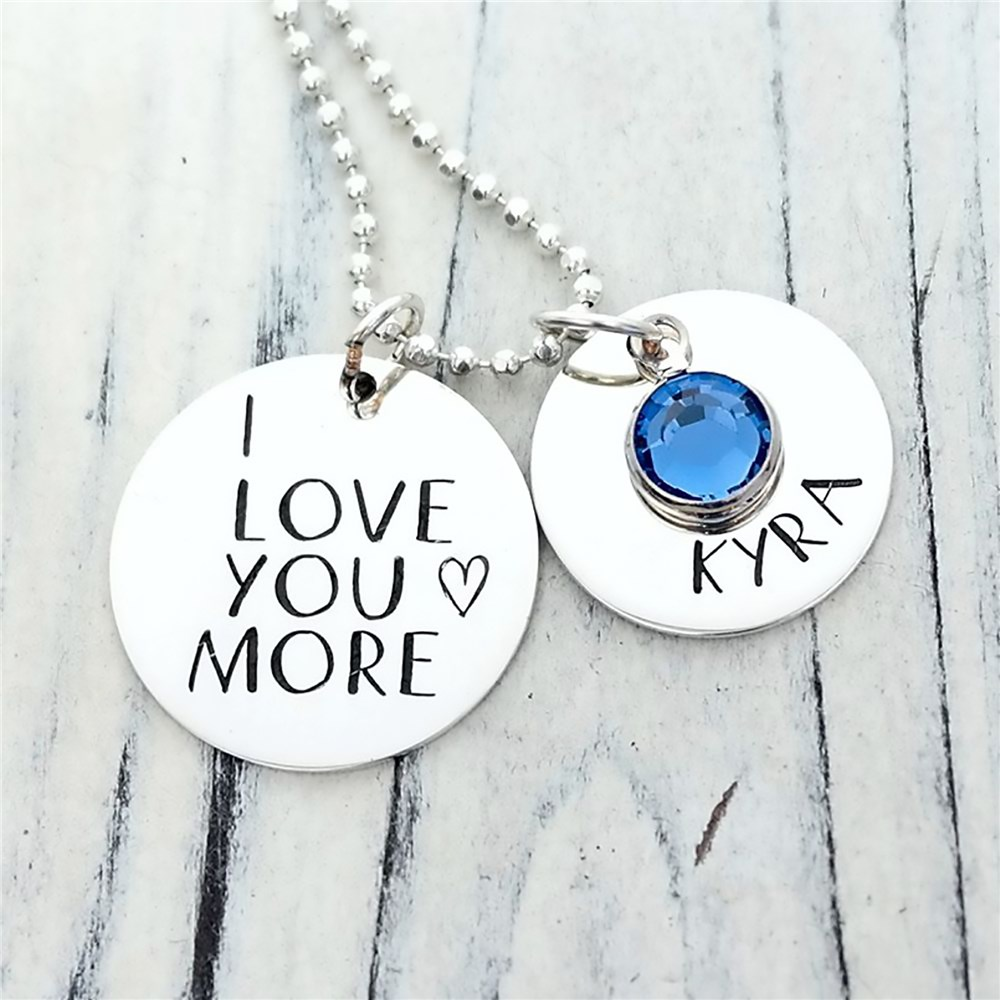 I Love You Birthstone Necklace | Personalized Jewelry