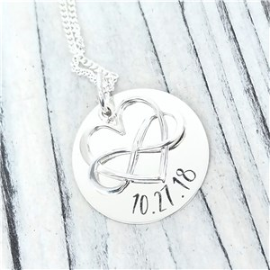 Sterling Silver Infinity Heart Necklace | Personalized Couple Gifts