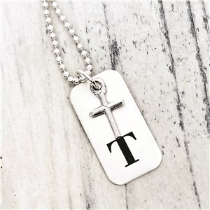 Boy Cross Dog Tag Hand Stamped Necklace DKBOYCROSS