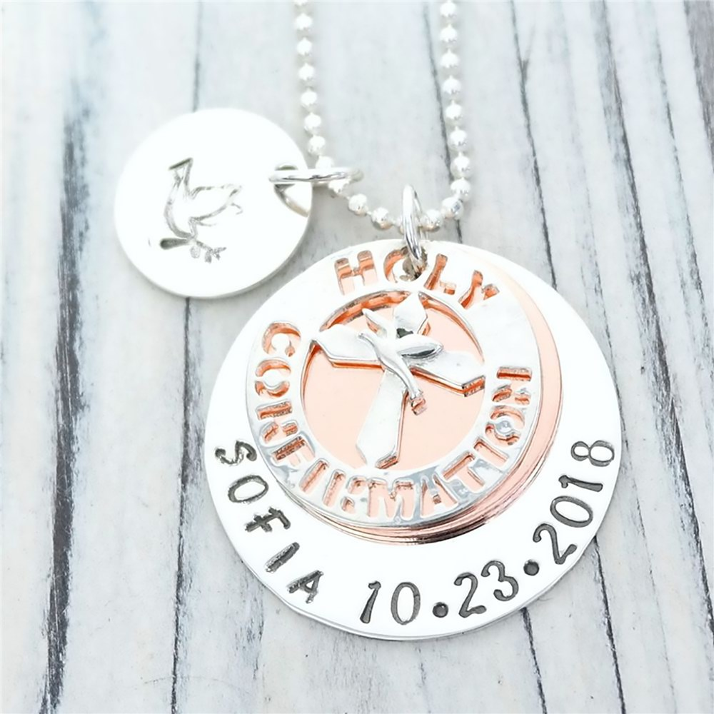 Holy Confirmation Hand Stamped Necklace DKSCICM120R