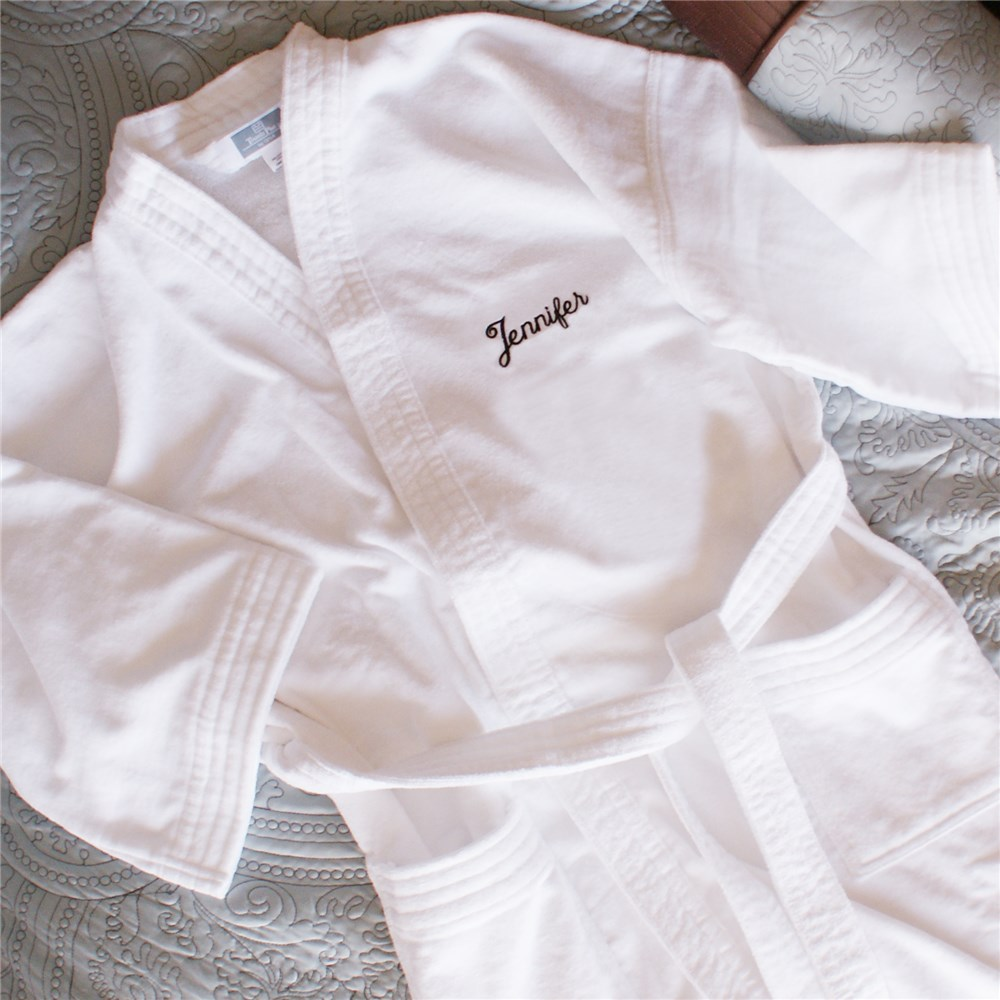 Embroidered Name White Cotton Bath Robe | Personalized Romantic Gifts For Her