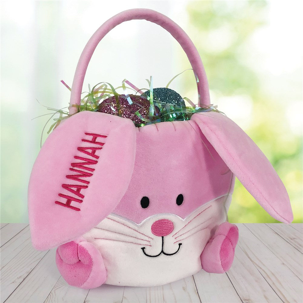 Embroidered Bunny Baskets | Embroidered Personalized Easter Basket
