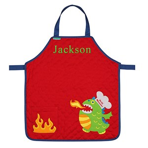 Embroidered Monsters Quilted Youth Apron | Personalized Kids Aprons