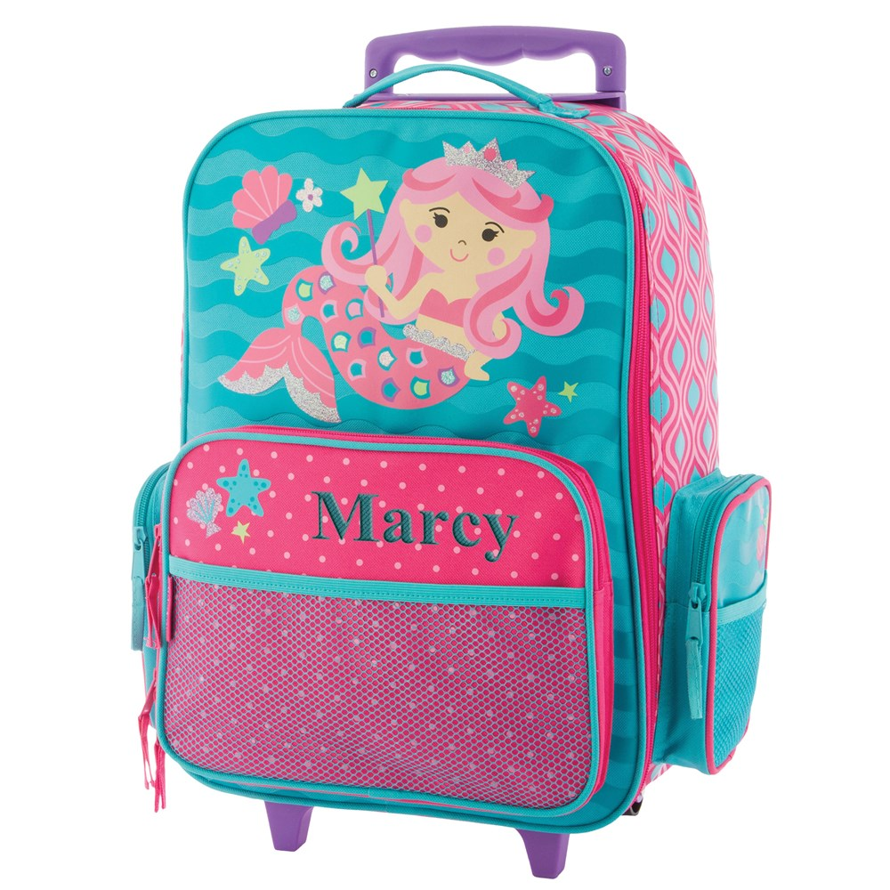 Embroidered Luggage for Girls | Mermaid Luggage for Kids