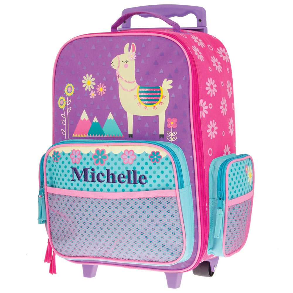 Embroidered Luggage for Girls | Llama Luggage for Kids