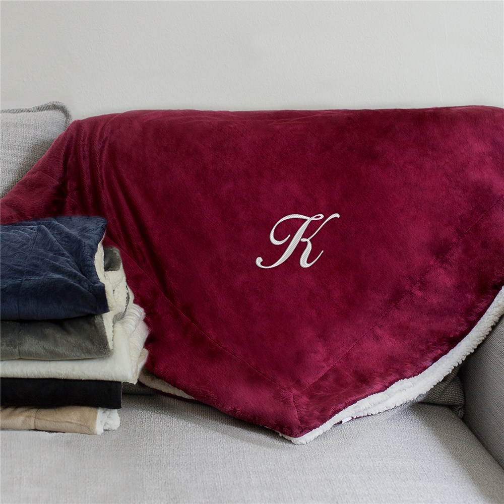 Any Initial Sherpa Blanket | Personalized Blankets