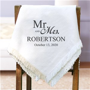Mr. & Mrs. Serif/Script Embroidered Afghan | Personalized Afghan