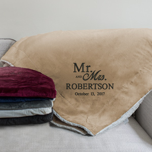 Embroidered Mr & Mrs Wedding Sherpa | Personalized Wedding Gift