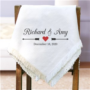 Embroidered Arrows and Heart Wedding Afghan | Personalized Wedding Gift