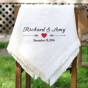 Embroidered Arrows and Heart Wedding Afghan