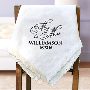 Mr. & Mrs. Script Embroidered Afghan | Personalized Afghan