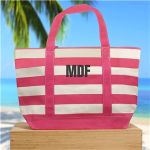 Embroidered Initials Striped Canvas Tote | Personalized Canvas Totes