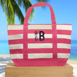 Embroidered Monogram Striped Canvas Tote | Personalized Canvas Totes