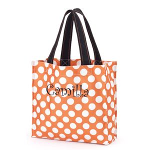 Personalized Orange Polka Dot Halloween Tote E10613282