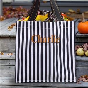 Personalized Black Stripe Halloween Tote | Personalized Halloween Bags