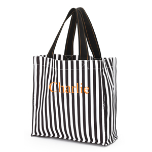 Personalized 	Black Stripe Halloween Tote E10613283