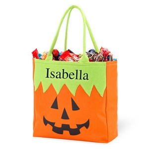 Personalized JackOLantern Halloween Tote | Best Personalized Halloween Treat Bags