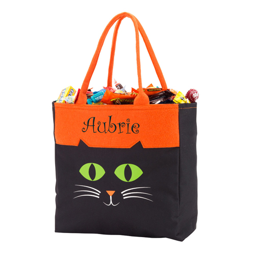 Personalized Cat Halloween Tote | Personalized Halloween Bags