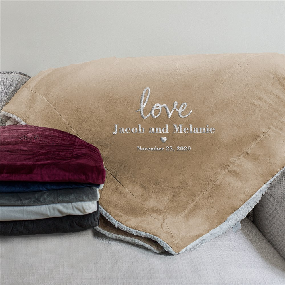 Embroidered Love Sherpa | Personalized Couple Gifts