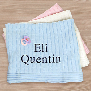Embroidered Baby Cable Knit Blanket E9365342X