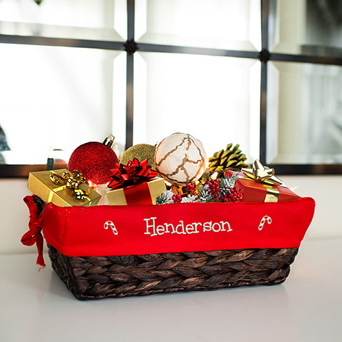 Embroidered Holiday Icon Wicker Basket | Personalized Holiday Decorations