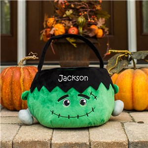 Embroidered Frankenstein Trick or Treat Basket | Personalized Trick or Treat Bags