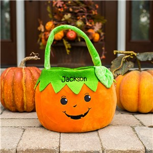 Embroidered Boy Pumpkin Trick or Treat Basket E11886349
